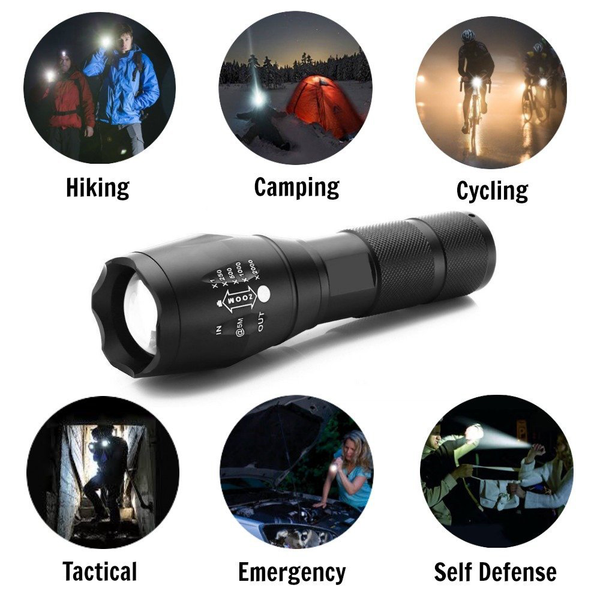 LED Flashlight 2000 Lumen Tactical Waterproof Zoomable Powerful XML-T6 Lamp Camping Torch By 18650 Rechargeable Battery