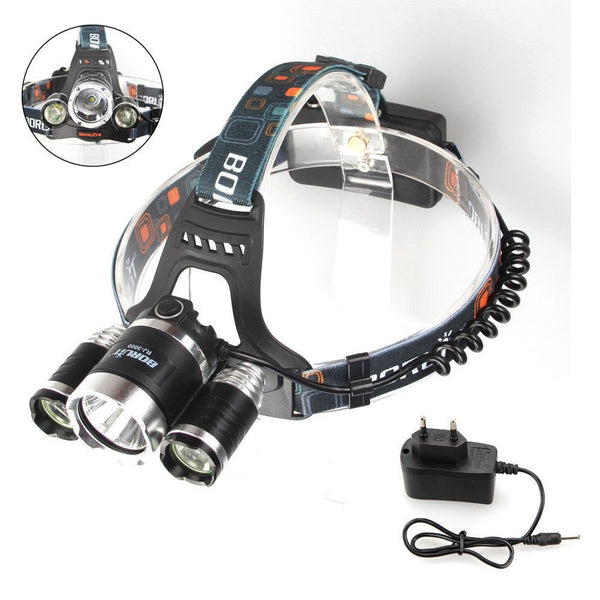 5000Lumen Bright 3 CREE XM-L XML T6 LED Headlamp,Waterproof Flashlight Torch 4 Modes Headlight with Rechargeable Batteries