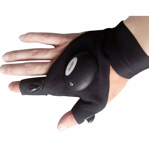 Outdoor Tactical Strap Fingerless Glove LED Flashlight Torch