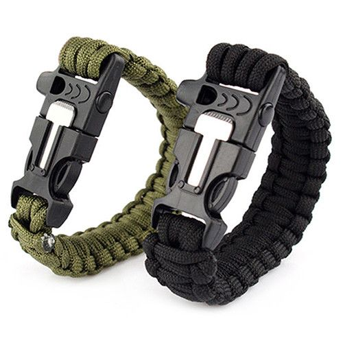 Survival Paracord Bracelet (Whistle, Knife & Flint Starter)