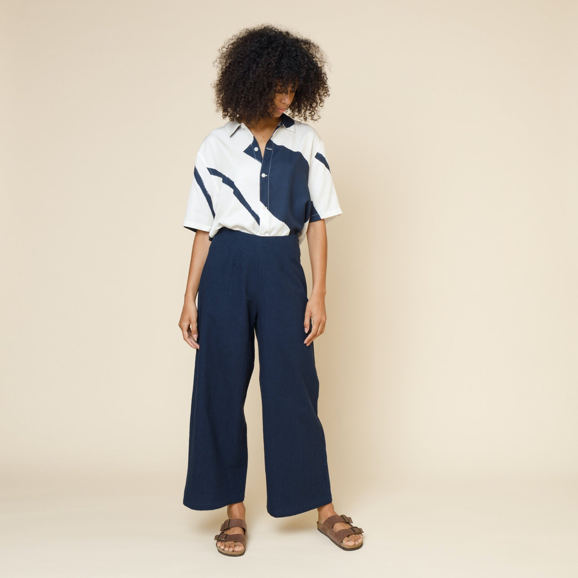 Folk Womens Clean Wide Pant: Navy - The Union Project