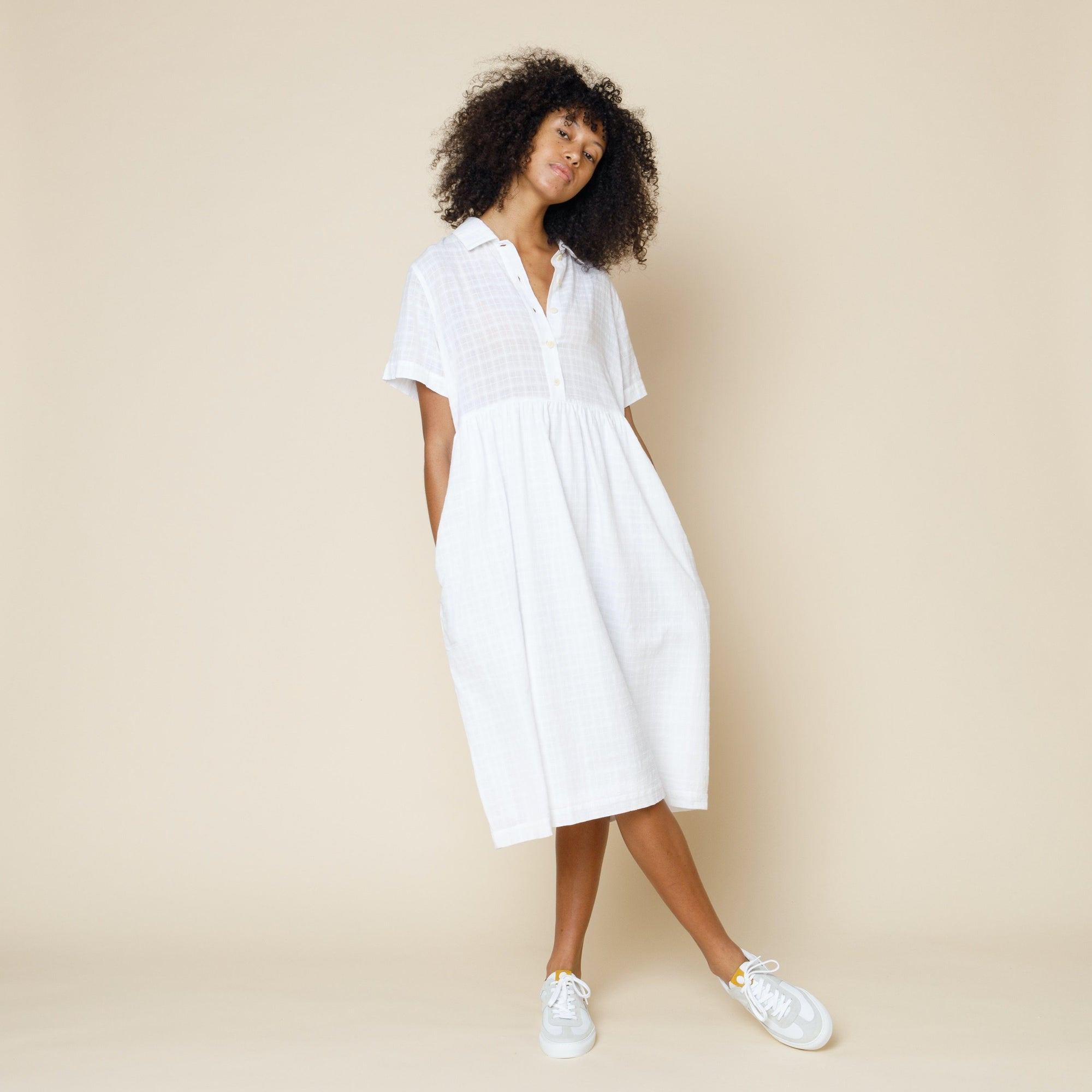 Folk Womens Loom Shirtdress: Natural Windowpane Check - The Union Project