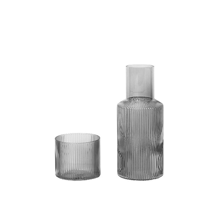 Ferm Living Ripple Carafe Set: Smoked Grey - The Union Project