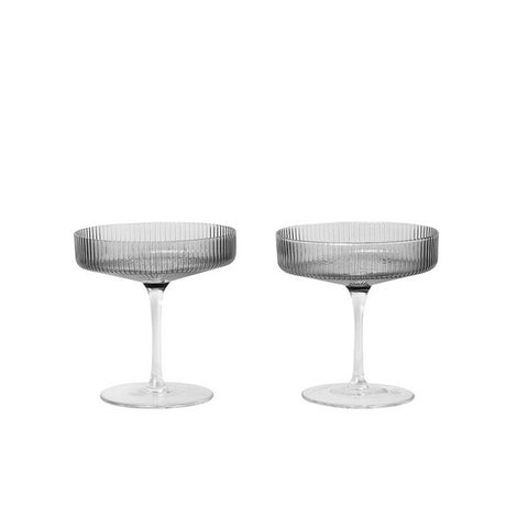 Glassware Ferm Living Ripple Champagne Saucers: Smoked Grey - The Union Project, Cheltenham, free delivery