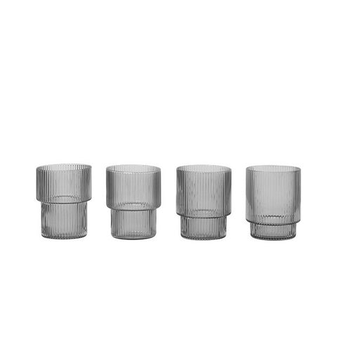 Ferm Living Ripple Glass Set of 4: Smoked Grey