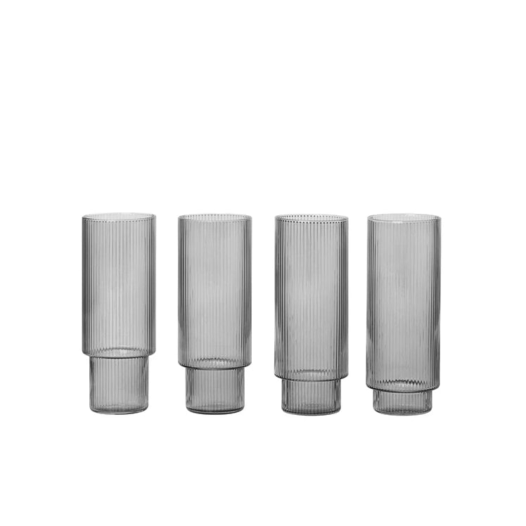 Ferm Living Ripple Long Drink Glasses Set of 4: Smoked Grey - The Union Project