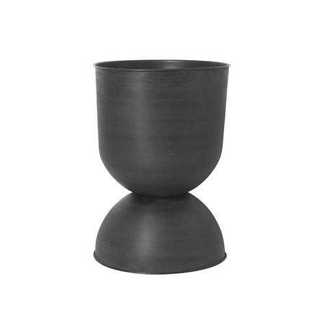 Ferm Living Hourglass Pot Large: Black/Dark Grey