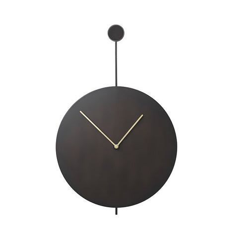 Ferm Living Trace Wall Clock: Black/Brass