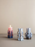 Ferm Living Hand Carved Candles: Dusty Purple
