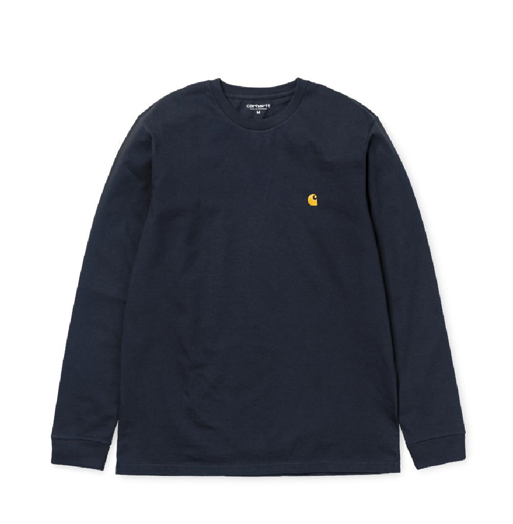 T-Shirts Carhartt WIP Chase Longsleeve T-Shirt: Dark Navy - The Union Project, Cheltenham, free delivery