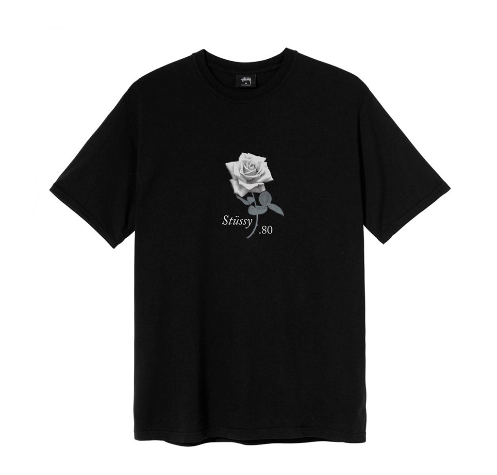 Stussy 80 Rose Pig. Dyed Tee: Black - The Union Project