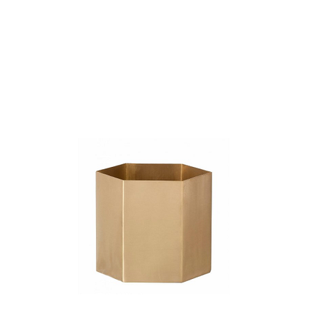 Plant Pots + Vases Ferm Living Hexagon Pot Small: Brass - The Union Project, Cheltenham, free delivery