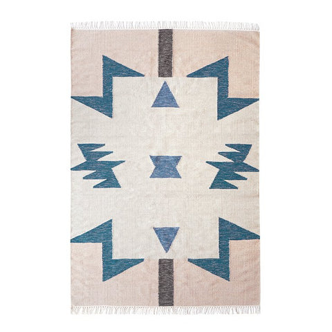 Ferm Living Kelim Rug Blue Triangles: Large