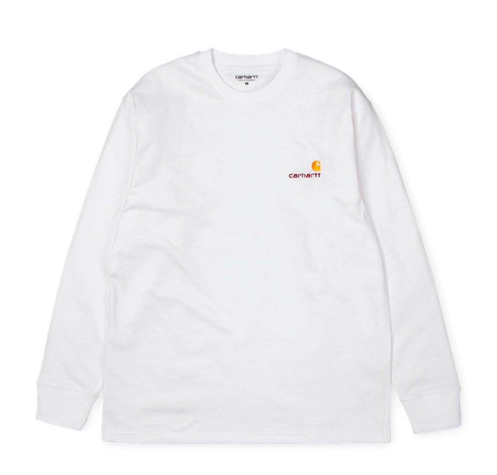 Carhartt WIP L/S American Script T-Shirt: White - The Union Project