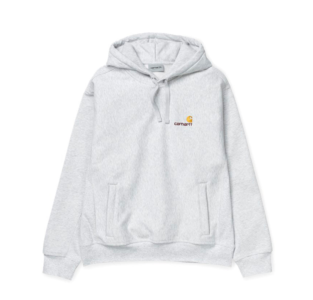 Carhartt WIP Hooded American Script Sweat: Ash Heather - The Union Project