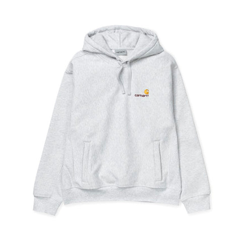Hoods & Sweats Carhartt WIP Hooded American Script Sweat: Ash Heather - The Union Project, Cheltenham, free delivery