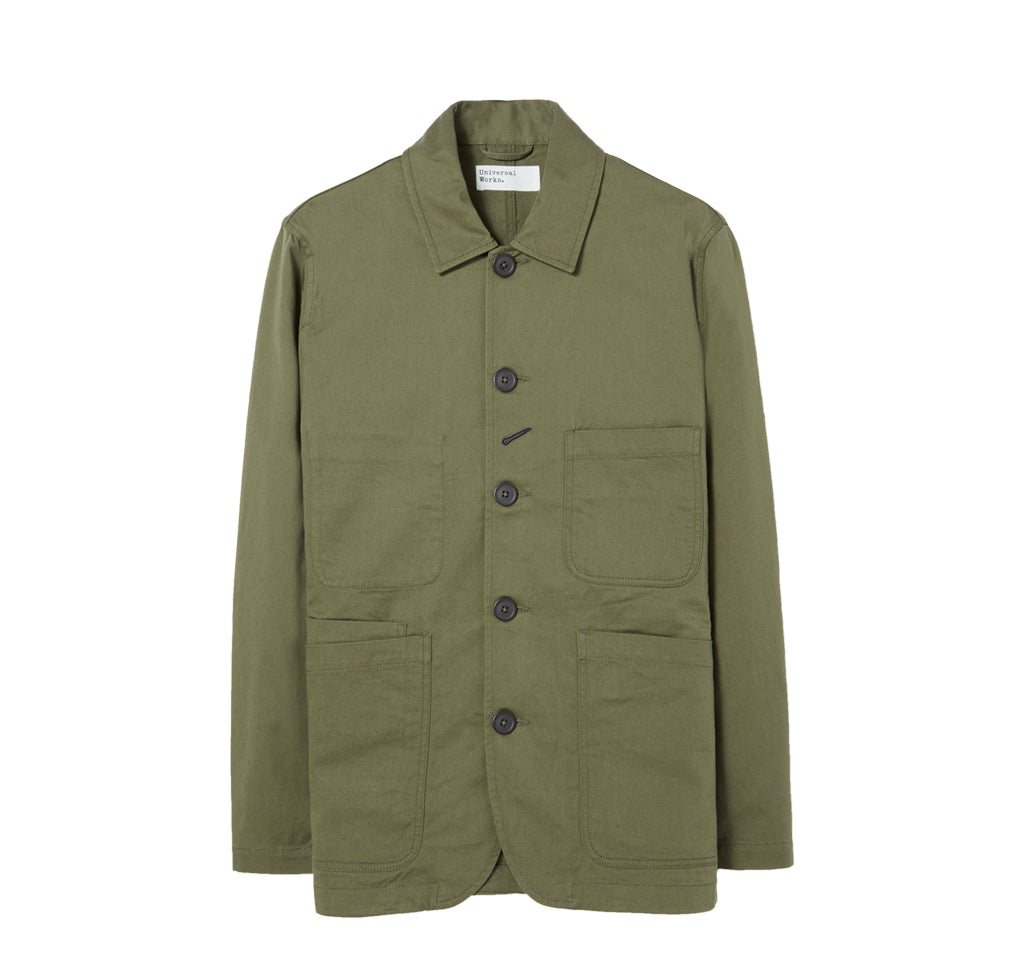 Universal Works Bakers Jacket: Light Olive - The Union Project