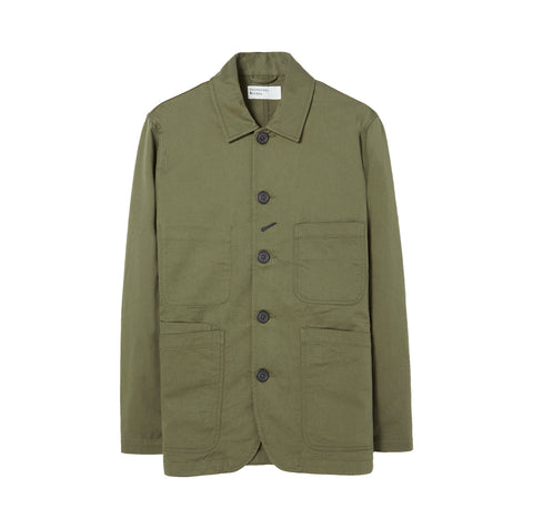Universal Works Bakers Jacket: Light Olive
