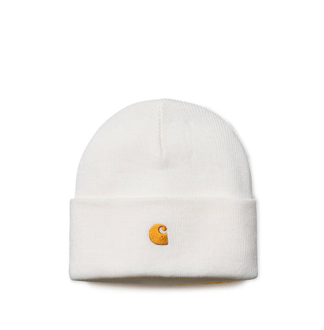 Headwear Carhartt WIP Chase Beanie: White / Gold - The Union Project, Cheltenham, free delivery