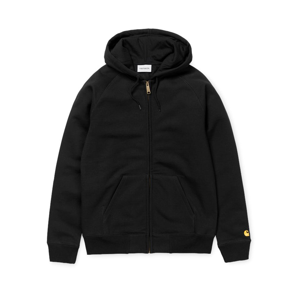 Hoods & Sweats Carhartt WIP Hooded Chase Jacket: Black/Gold - The Union Project, Cheltenham, free delivery