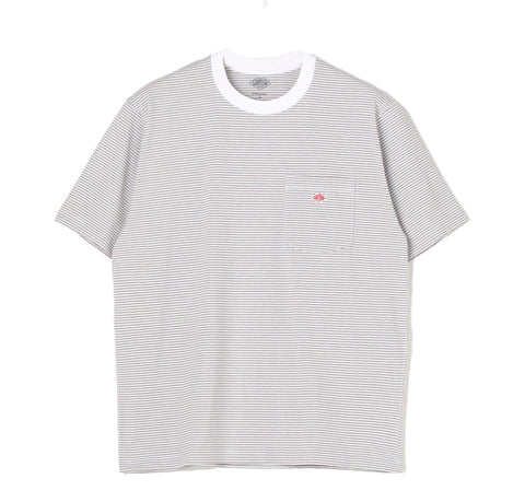 Danton Stripe Pocket T-Shirt: White / Grey