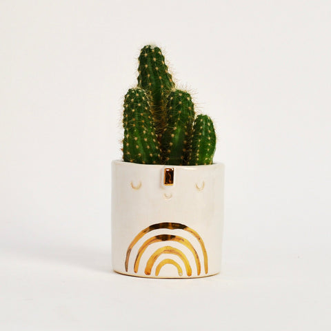 Plant Pots + Vases Atelier Stella Mini Rainbow Pot: Gold/White - The Union Project, Cheltenham, free delivery
