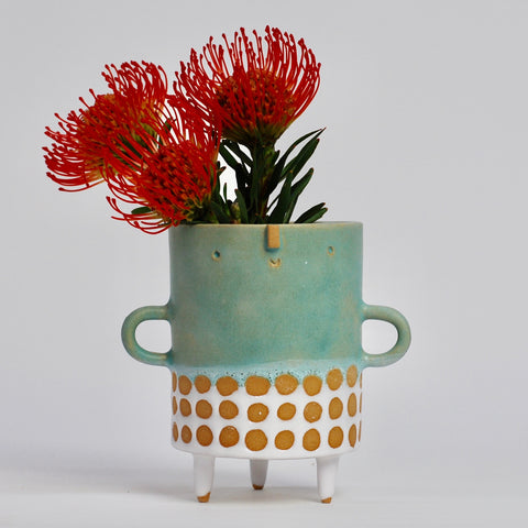 Plant Pots & Vases Atelier Stella Tubby Tripod Vase: Green/White Spot - The Union Project, Cheltenham, free delivery