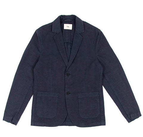 Folk Cotton Linen Blazer: Summer Navy