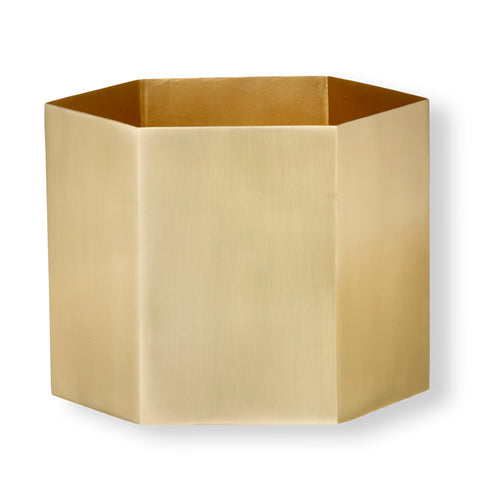 Plant Pots + Vases Ferm Living Hexagon Pot XL: Brass - The Union Project, Cheltenham, free delivery