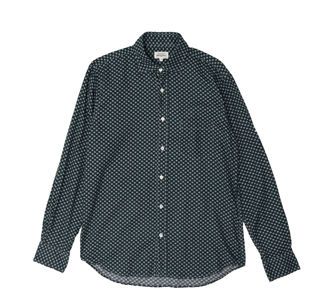 Shirts Hartford Paul Shirt: Green Rose Print - The Union Project, Cheltenham, free delivery