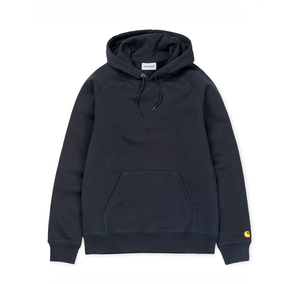 Carhartt WIP Hooded Chase Sweat: Dark Navy/Gold - The Union Project