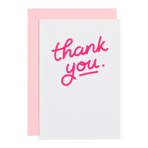 Greetings Cards + Gift Wrap Jot Thank You: Neon Pink on Grey - The Union Project, Cheltenham, free delivery
