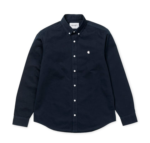 Shirts Carhartt WIP Madison Shirt L/S: Dark Navy / Wax - The Union Project, Cheltenham, free delivery