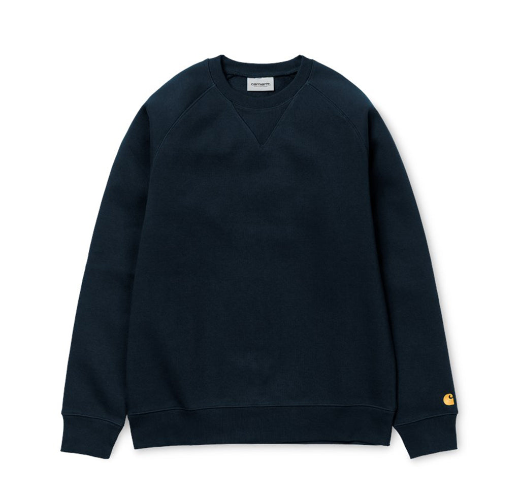 Carhartt WIP Chase Sweat: Dark Navy / Gold - The Union Project