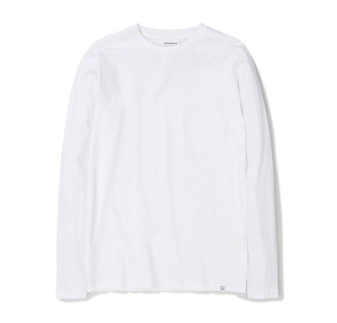 T-Shirts Norse Projects Niels Standard Longsleeve: White - The Union Project, Cheltenham, free delivery