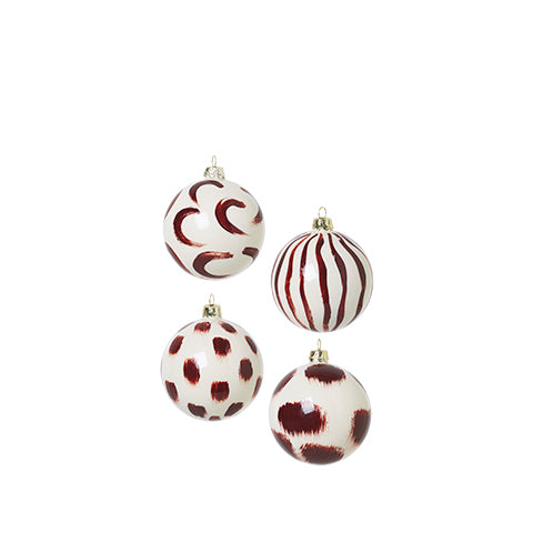 Ferm Living Christmas Glass Ornament: Red Brown (Set of 4) - The Union Project
