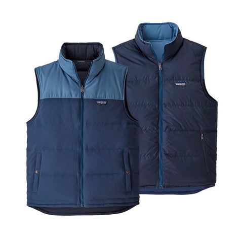 Patagonia Reversible Bivy Down Vest: Stone Blue w/Woolly Blue