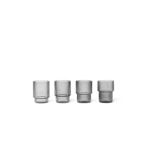 Glasswear Ferm Living Ripple Shot Glasses (Set of 4): Smoked Grey - The Union Project, Cheltenham, free delivery