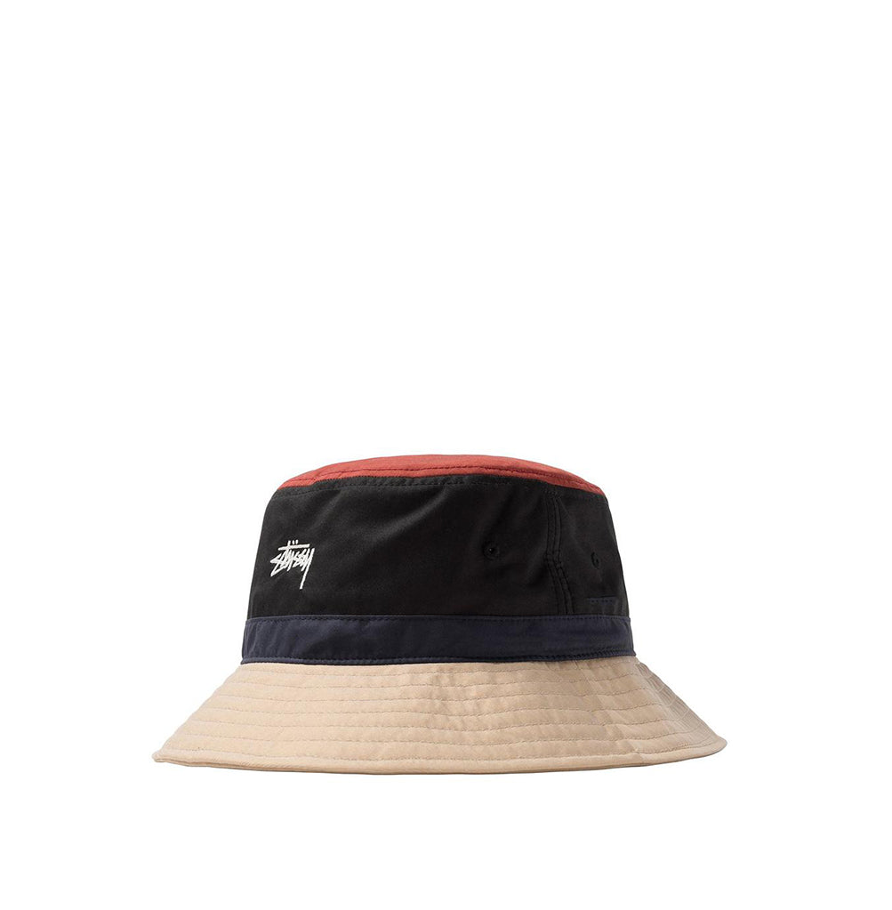 Stussy Colour Block Bucket Hat: Black - The Union Project