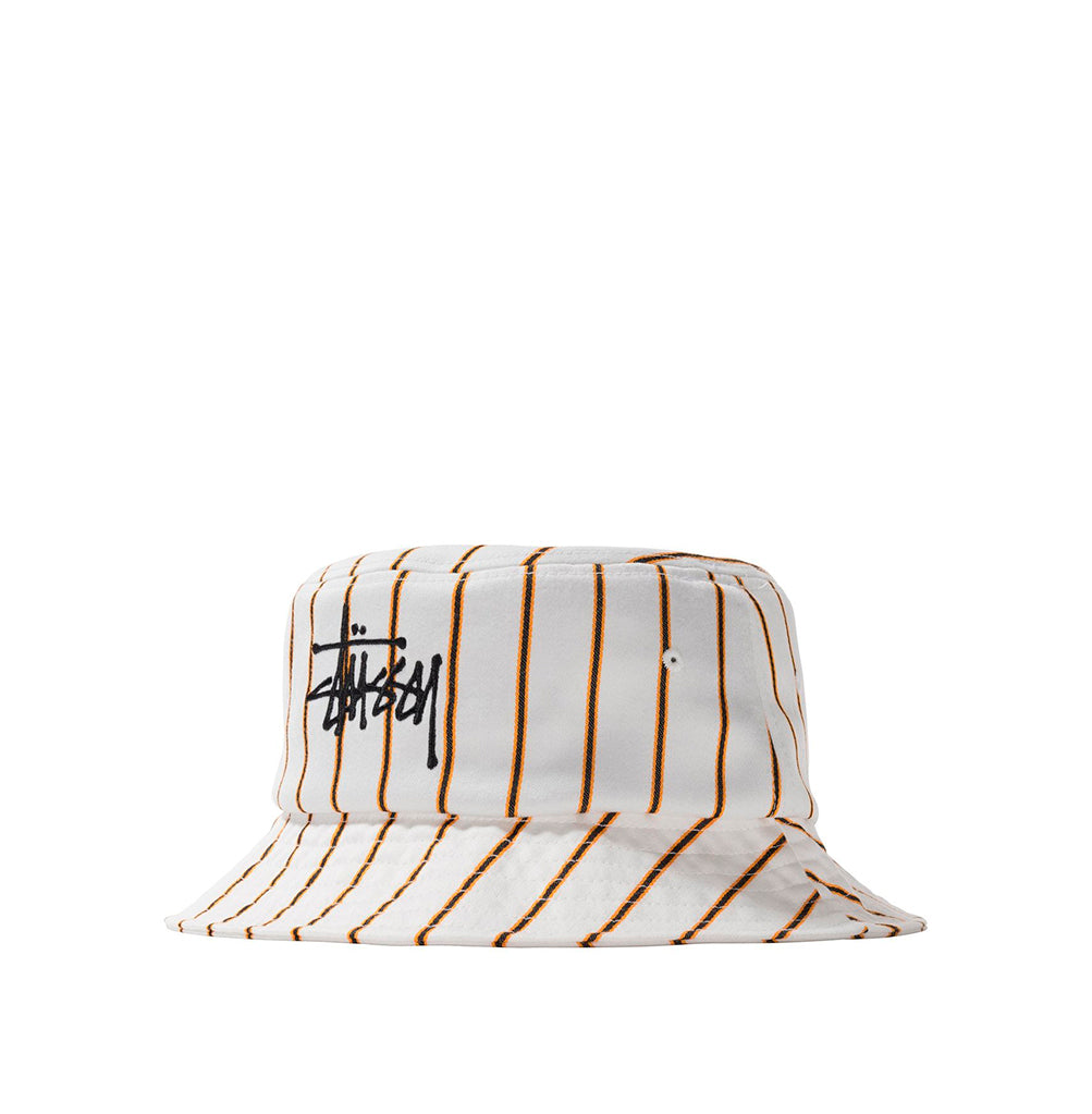 Stussy Big Logo Striped Bucket Hat: Off White - The Union Project