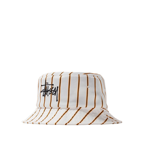 Stussy Big Logo Striped Bucket Hat: Off White