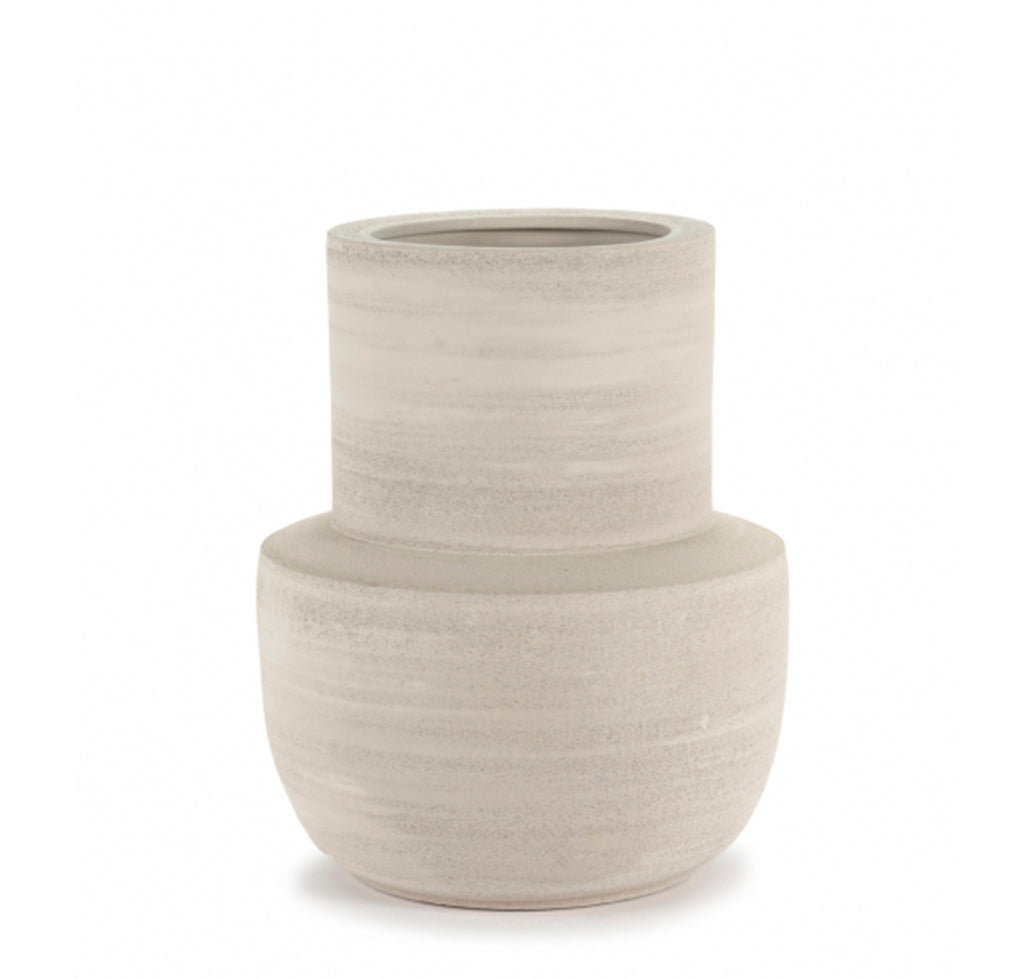Concrete Plant Pots Serax Volumes Vase L37.5 x W37.5 x H47: Beige - The Union Project, Cheltenham, free delivery