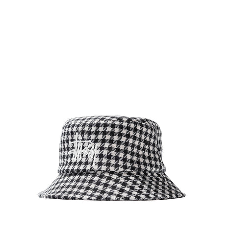 Stussy Big Logo Check Plaid Bucket: Black