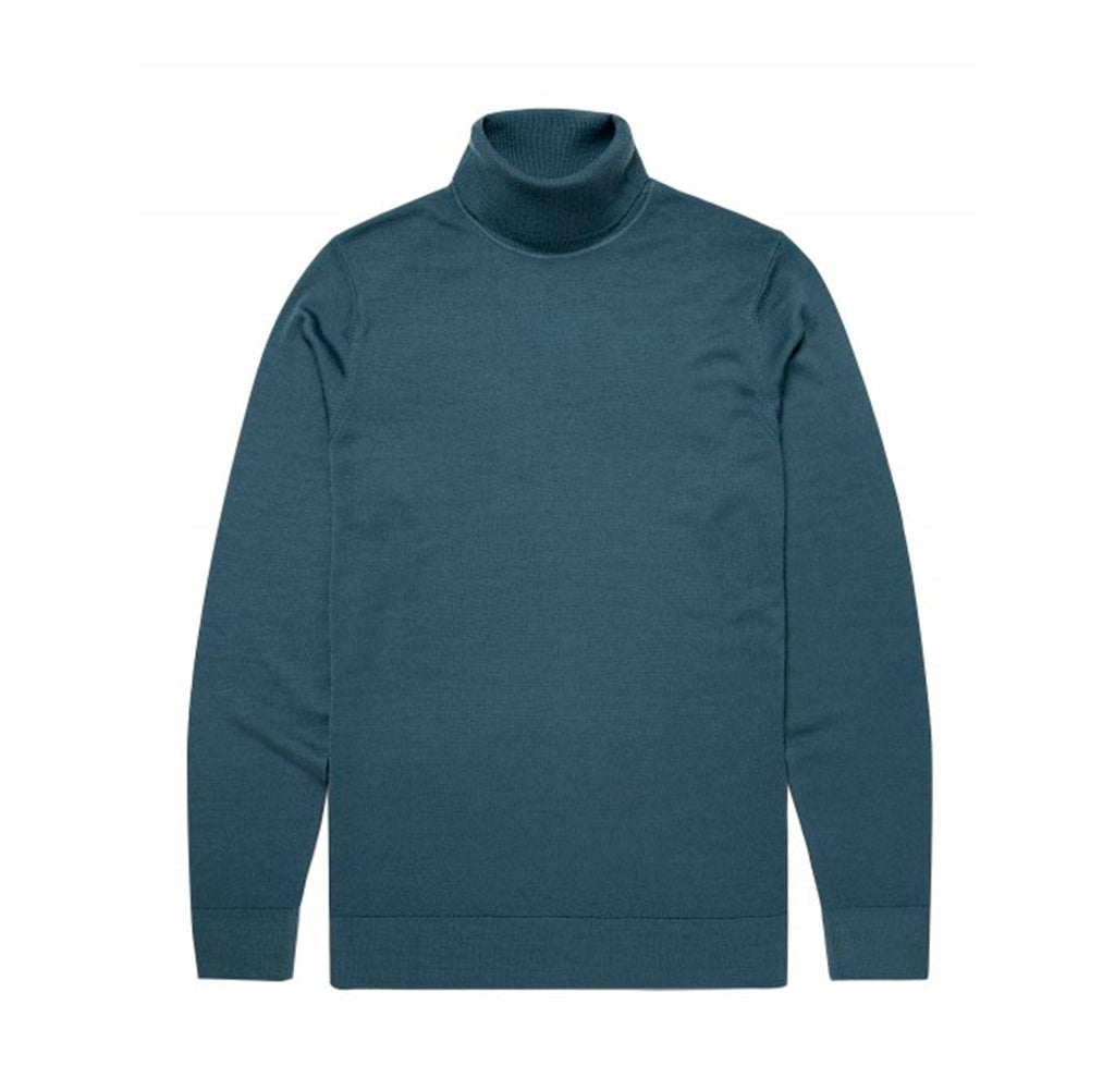 Sunspel Merino Roll Neck Jumper: Dark Petrol - The Union Project