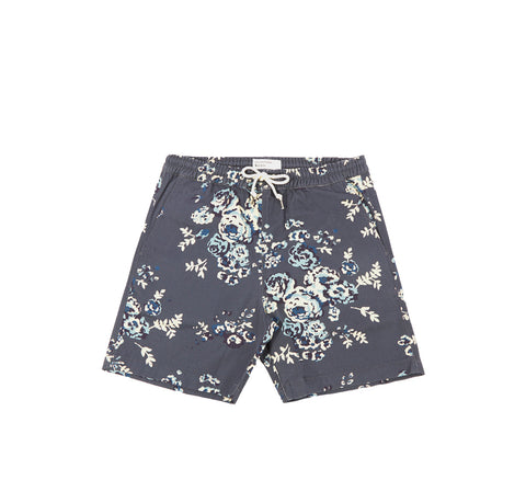 Universal Works Beach Shorts: Navy Flower Canvas