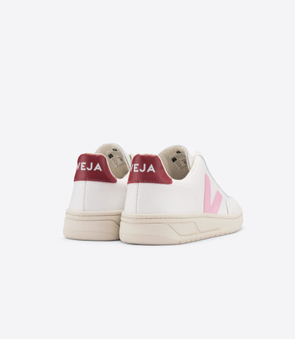Veja V-12 Leather: Extra White/Guimauve Marsala