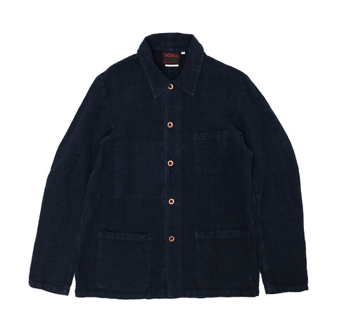 Vetra Linen Workwear Jacket: Navy