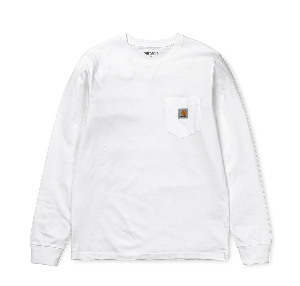 Carhartt WIP L/S Pocket T-Shirt: White - The Union Project