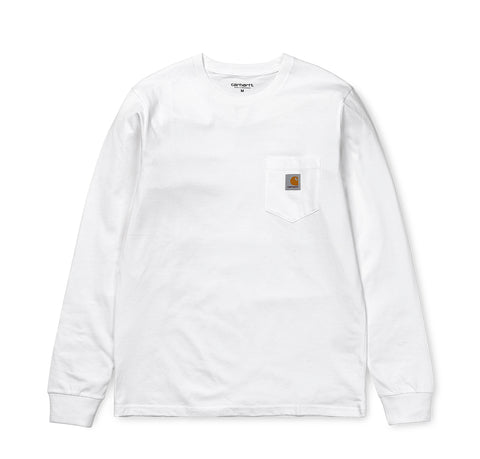 T-Shirts Carhartt WIP Longsleeve Pocket T-Shirt: White - The Union Project, Cheltenham, free delivery