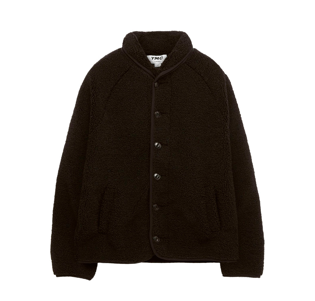YMC Beach Jacket: Black Poly Fleece - The Union Project